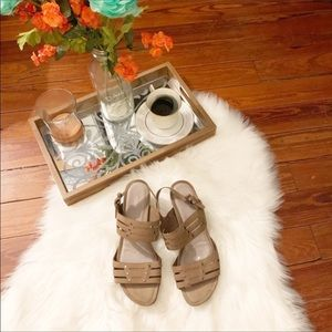 Ecco beige  tan strappy wedge sandals 40/9.5